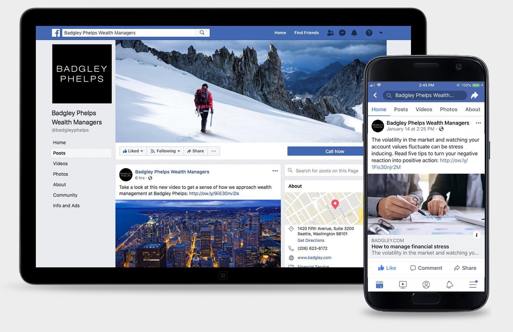 Badgley Phelps Facebook social media strategy and design.