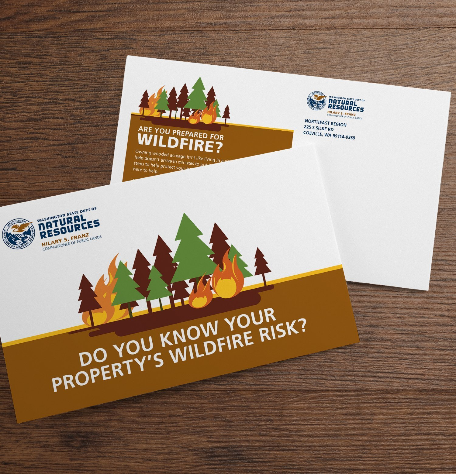 Direct mailers for Natural Resources to raise awareness for wildfires.