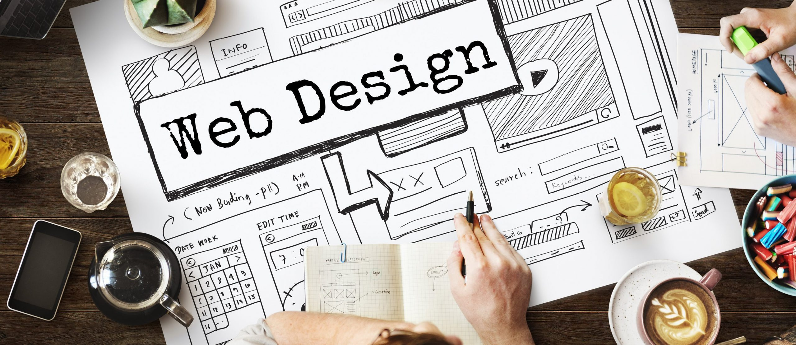 Web design strategy and visual process.